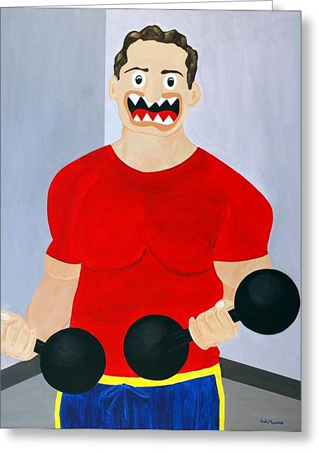 Dumbbell Greeting Card by Sal Marino
