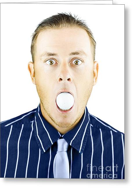 Censored Greeting Cards - Dumbfounded man silenced by a golf ball Greeting Card by Ryan Jorgensen