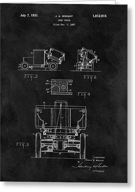 Dump Truck Patent Greeting Card by Dan Sproul