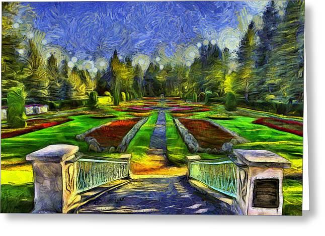 Spokane Greeting Cards - Duncan Gardens Van Gogh Style Greeting Card by Mark Kiver
