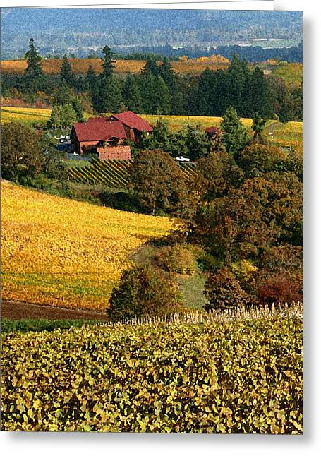 Wine Grapes Digital Art Greeting Cards - Dundee Red Hills  Greeting Card by Margaret Hood