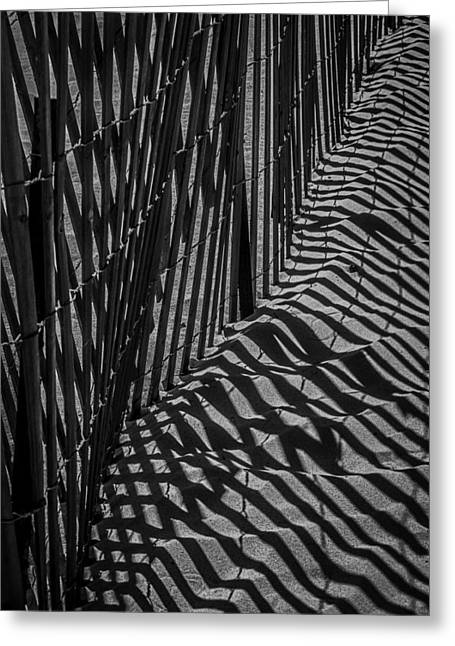Fence Line Greeting Cards - Dune Fence Greeting Card by Garry Gay