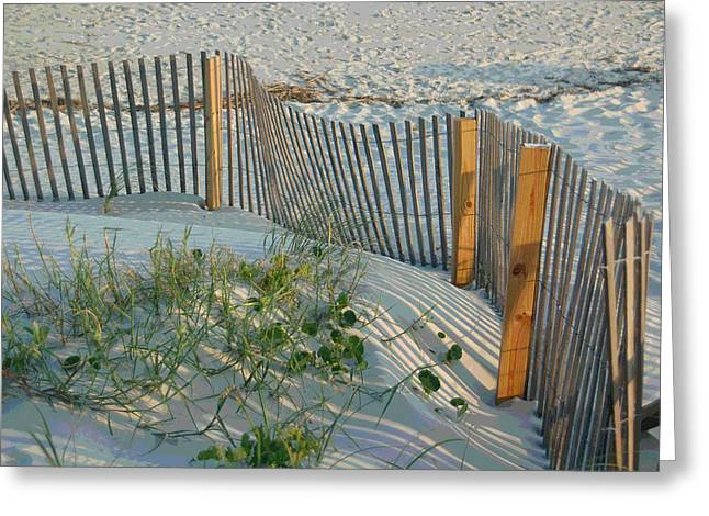 Sand Fences Digital Art Greeting Cards - Dune Fence Greeting Card by Suzanne Gaff