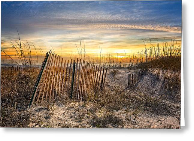 Fog At Sea Greeting Cards - Dune Glow Greeting Card by Debra and Dave Vanderlaan