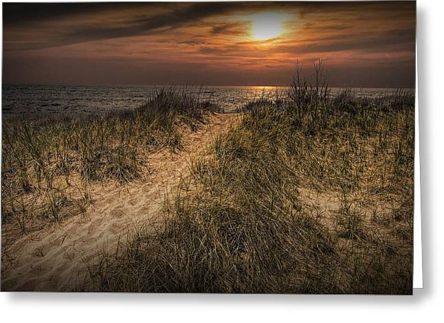 Randy Greeting Cards - Dune Path at Sunset Greeting Card by Randall Nyhof
