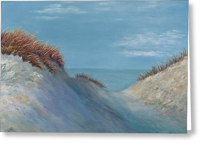 Sand Dunes Paintings Greeting Cards - Dune Shadows Greeting Card by Audrey McLeod