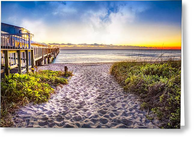Boats At Dock Greeting Cards - Dunes at the Pier Greeting Card by Debra and Dave Vanderlaan