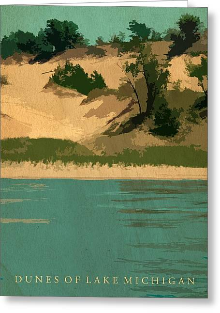 Michelle Greeting Cards - Dunes of Lake Michigan Antiqued Greeting Card by Michelle Calkins