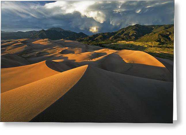 Sand Dunes National Park Greeting Cards - Dunescape Monsoon Greeting Card by Joseph Rossbach