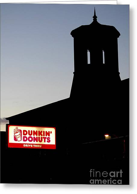Mike Nellums Greeting Cards - Dunkin Donuts and mill silhouette Greeting Card by Mike Nellums