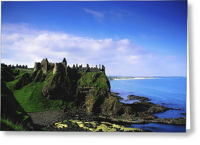 Hill Top Village Greeting Cards - Dunluce Castle, Co Antrim, Irish, 13th Greeting Card by The Irish Image Collection