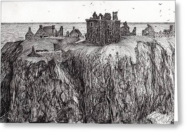 Black Top Drawings Greeting Cards - Dunottar Castle Greeting Card by Vincent Alexander Booth