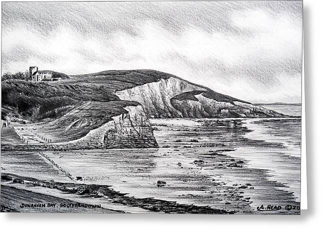 Grey Clouds Drawings Greeting Cards - Dunraven Bay Greeting Card by Andrew Read