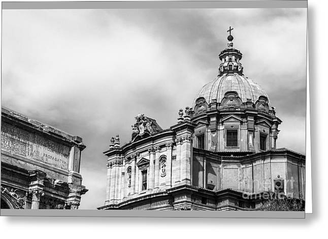 Duomo Of Santi Luca E Martina And Arch Of Septimius Severus  Greeting Card by Prints of Italy