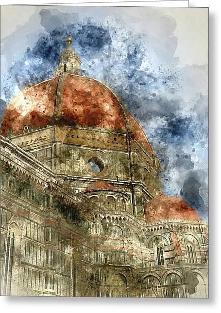 Duomo Santa Maria Del Fiore And Campanile. Florence, Italy Greeting Card by Brandon Bourdages