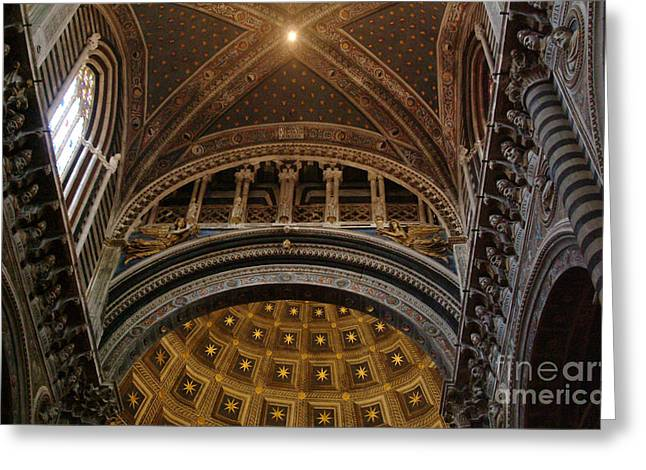 Sienna Italy Greeting Cards - Duomo Statues And Vaulted Ceiling Greeting Card by Georgia Sheron