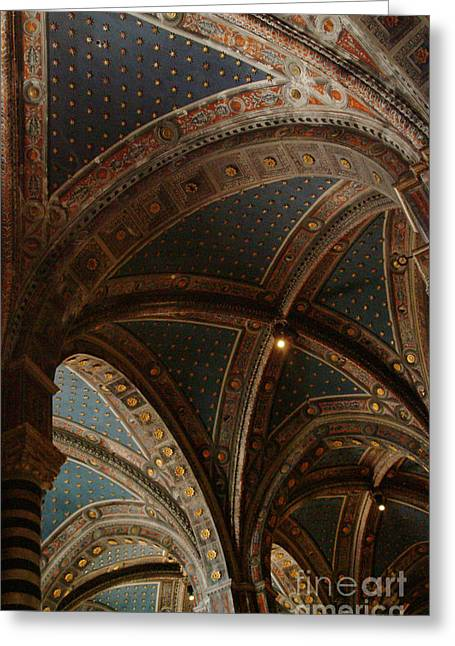 Sienna Italy Greeting Cards - Duomo Vaulted Ceiling Greeting Card by Georgia Sheron