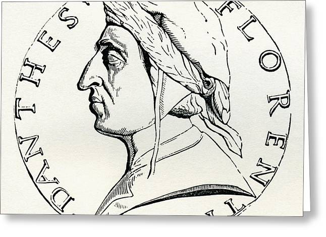 Durante Degli Alighieri, Aka Dante, 1265 Greeting Card by Vintage Design Pics