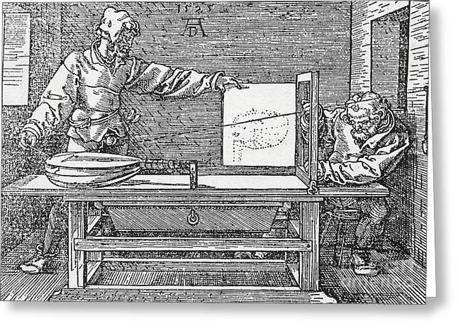 Geometric work Photographs Greeting Cards - Durers Perspective Drawing Of A Lute Greeting Card by Science Source