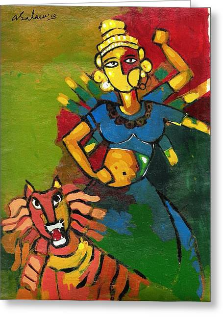 Best Sellers -  - Goddess Durga Greeting Cards - Durga Greeting Card by Abdus Salam