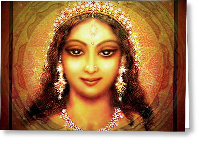Goddess Durga Greeting Cards - Durga in the Sri Yantra Greeting Card by Ananda Vdovic