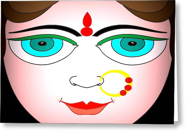 Universal Mother Greeting Cards - Durga Greeting Card by Pratyasha Nithin