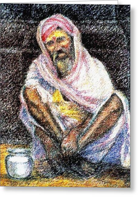 Baba Paintings Greeting Cards - Durgappa Baba Greeting Card by Claudio  Fiori