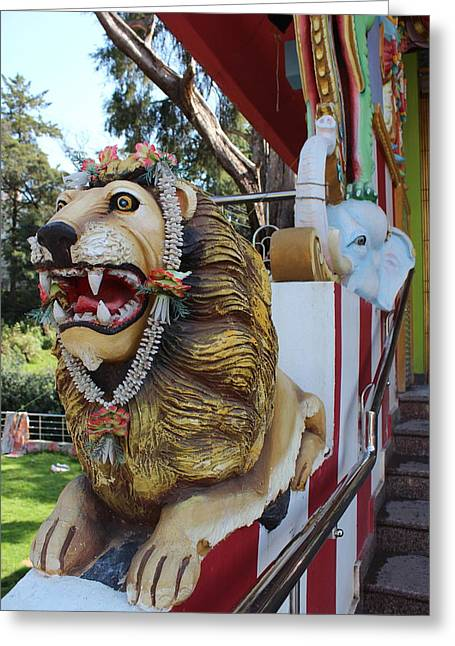 Durga's Lion Greeting Card by Jennifer Mazzucco