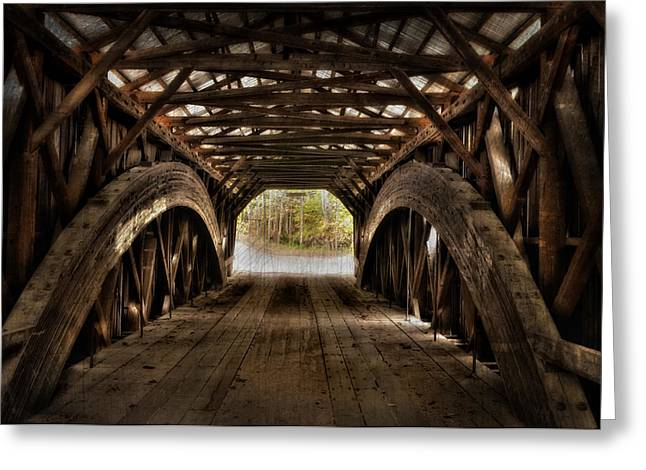 Durgin Covered Bridge - Hdr  Greeting Card by Thomas Schoeller