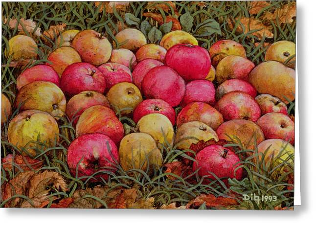 Harvest Art Greeting Cards - Durnitzhofer Apples Greeting Card by Ditz
