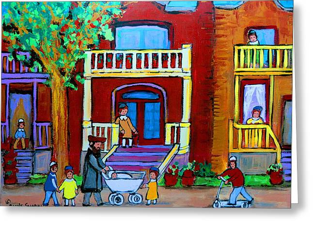 Lubavitcher Greeting Cards - Durocher Street Montreal Greeting Card by Carole Spandau
