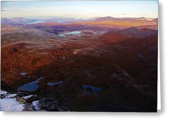 Norwegian Sunset Greeting Cards - Dusk Along the Arctic Tundra Greeting Card by David Broome