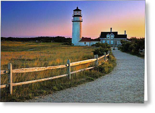 Dusk At Cape Cod Lighthouse Greeting Card by Thomas Schoeller