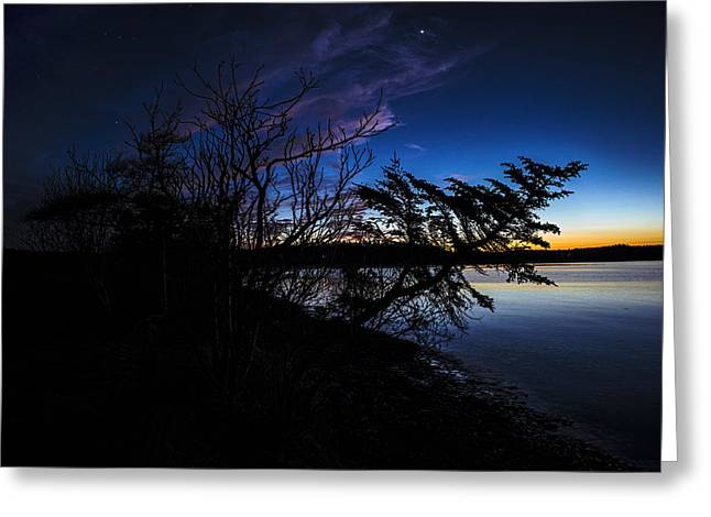 Maine Shore Greeting Cards - Dusk at Carrying Place Cove Greeting Card by Marty Saccone