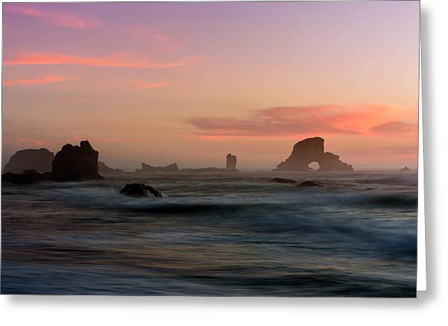 Dusk At Ecola Point Greeting Card by Robert Potts