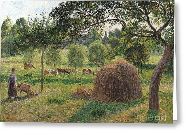 Cattle Farming Greeting Cards - Dusk at Eragny Greeting Card by Camille Pissarro