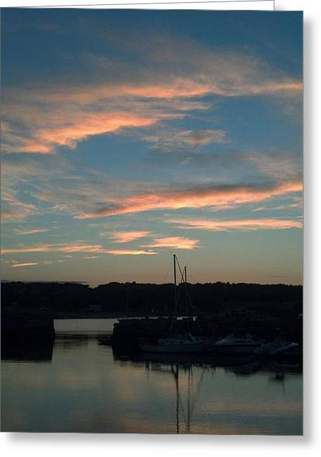 Reflections Of Sky In Water Greeting Cards - Dusk at Old Harbor Greeting Card by Harriet Harding