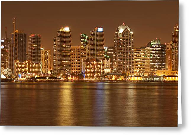 Panoramics Greeting Cards - Dusk at San Diego Harbor Greeting Card by Sandra Bronstein