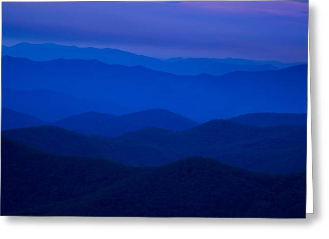 Twilight Views Greeting Cards - Dusk at the Blue Ridge Greeting Card by Andrew Soundarajan