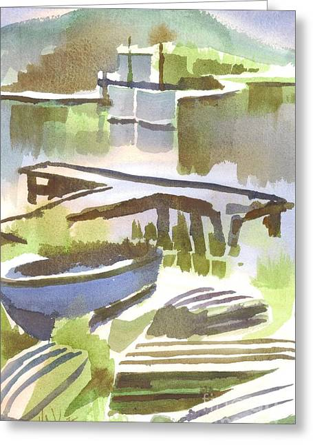 Boats At The Dock Paintings Greeting Cards - Dusk at the Boat Dock Greeting Card by Kip DeVore