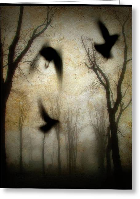 Surreal Digital Image Greeting Cards - Dusk Begins As The Crows Fly Greeting Card by Gothicolors Donna Snyder