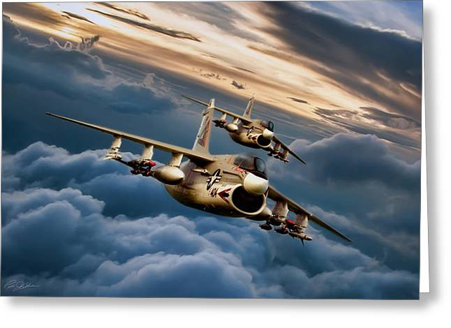 Dusk Delivery Corsair II Greeting Card by Peter Chilelli