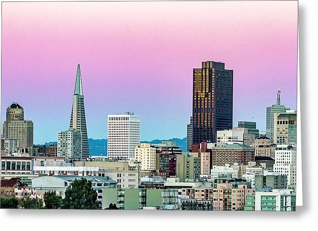 Dusk In San Francisco Greeting Card by Bill Gallagher