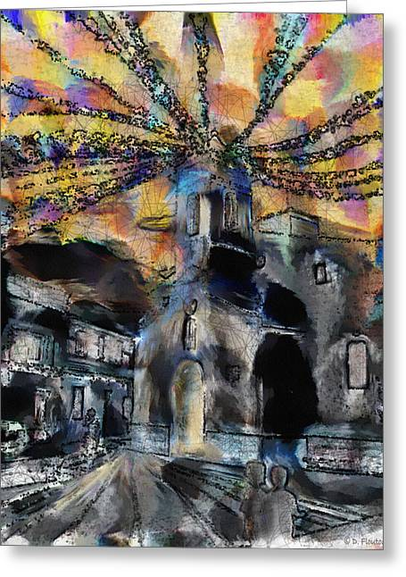 Ebsq Greeting Cards - Dusk in the Church Square Greeting Card by Dee Flouton