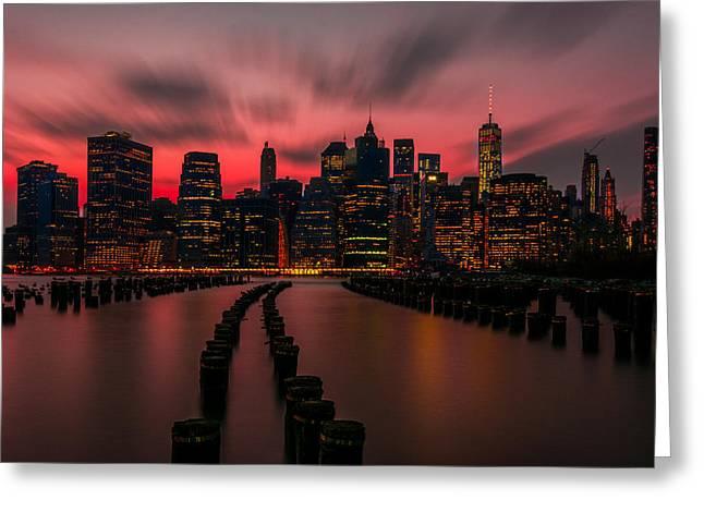 Usa Photographs Greeting Cards - Dusk Manhattan Greeting Card by Riddhish Chakraborty