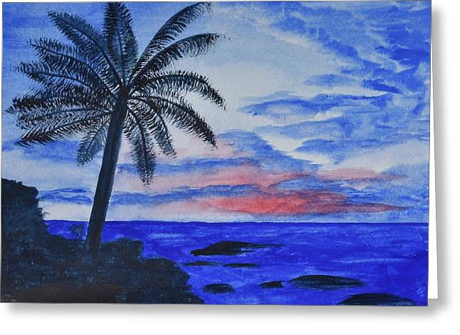 Shades Of Red Greeting Cards - Dusk Ocean Scene Greeting Card by Linda Brody