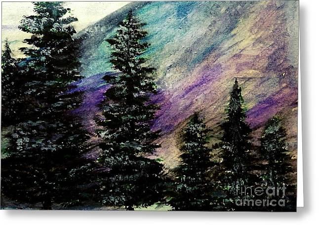 Dusk On Purple Mountain Greeting Card by Scott D Van Osdol