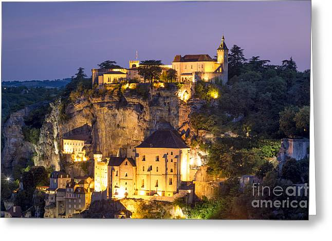 Historic Home Greeting Cards - Dusk over Rocamadour Greeting Card by Brian Jannsen