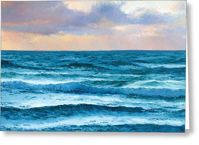 Interior Scene Greeting Cards - Dusk over the Ocean Greeting Card by Jan Matson
