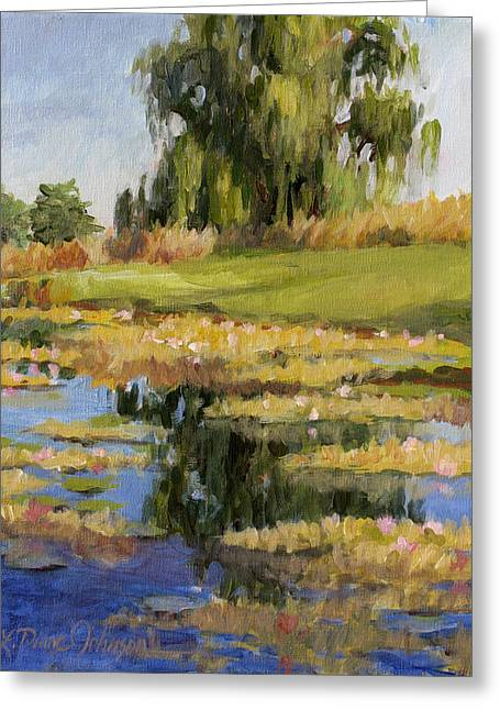 Recently Sold -  - Reflections Of Sky In Water Greeting Cards - Dusk Over The Pond Greeting Card by L Diane Johnson